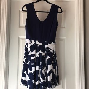 Blue and white fit and flare v-neck